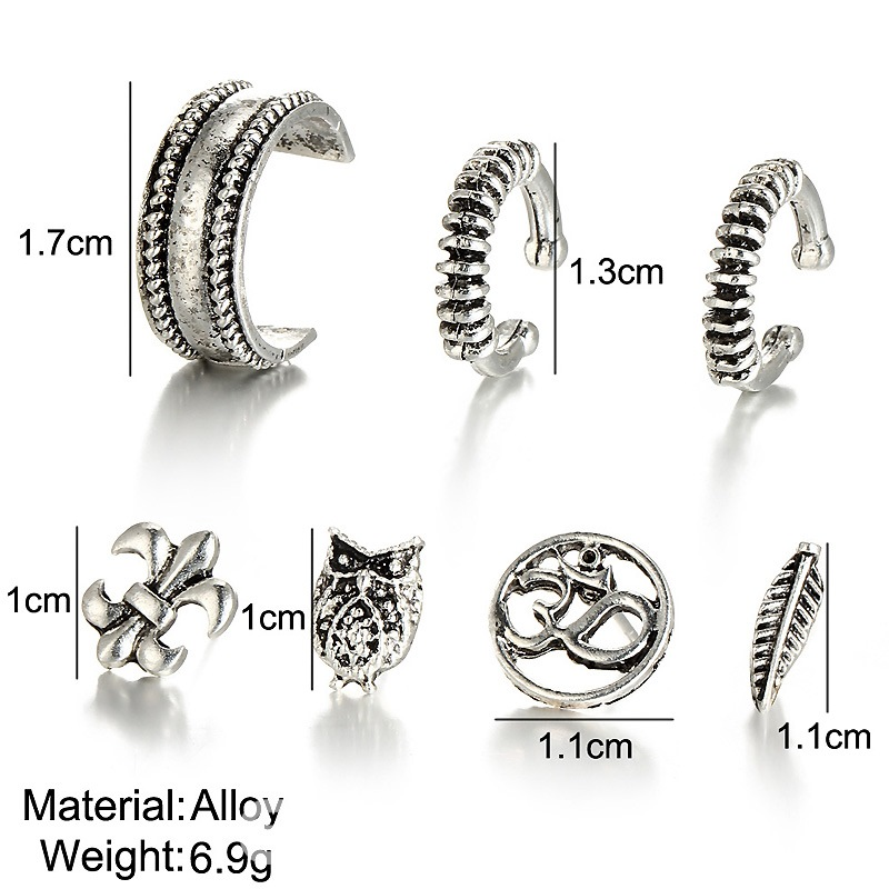 Ericdress Vintage Style Owl 7-Piece Stud for Women