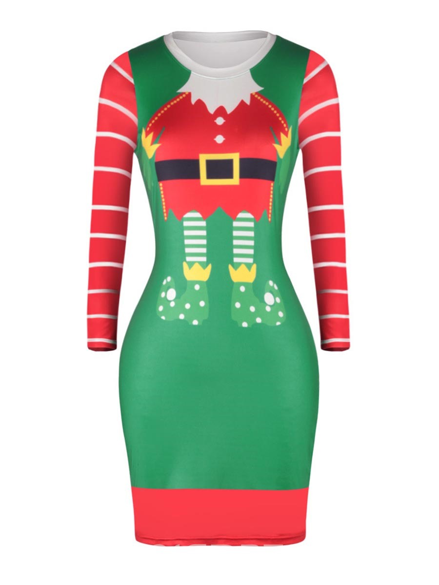 Ericdress Chrismas Print Above Knee Bodycon Dress