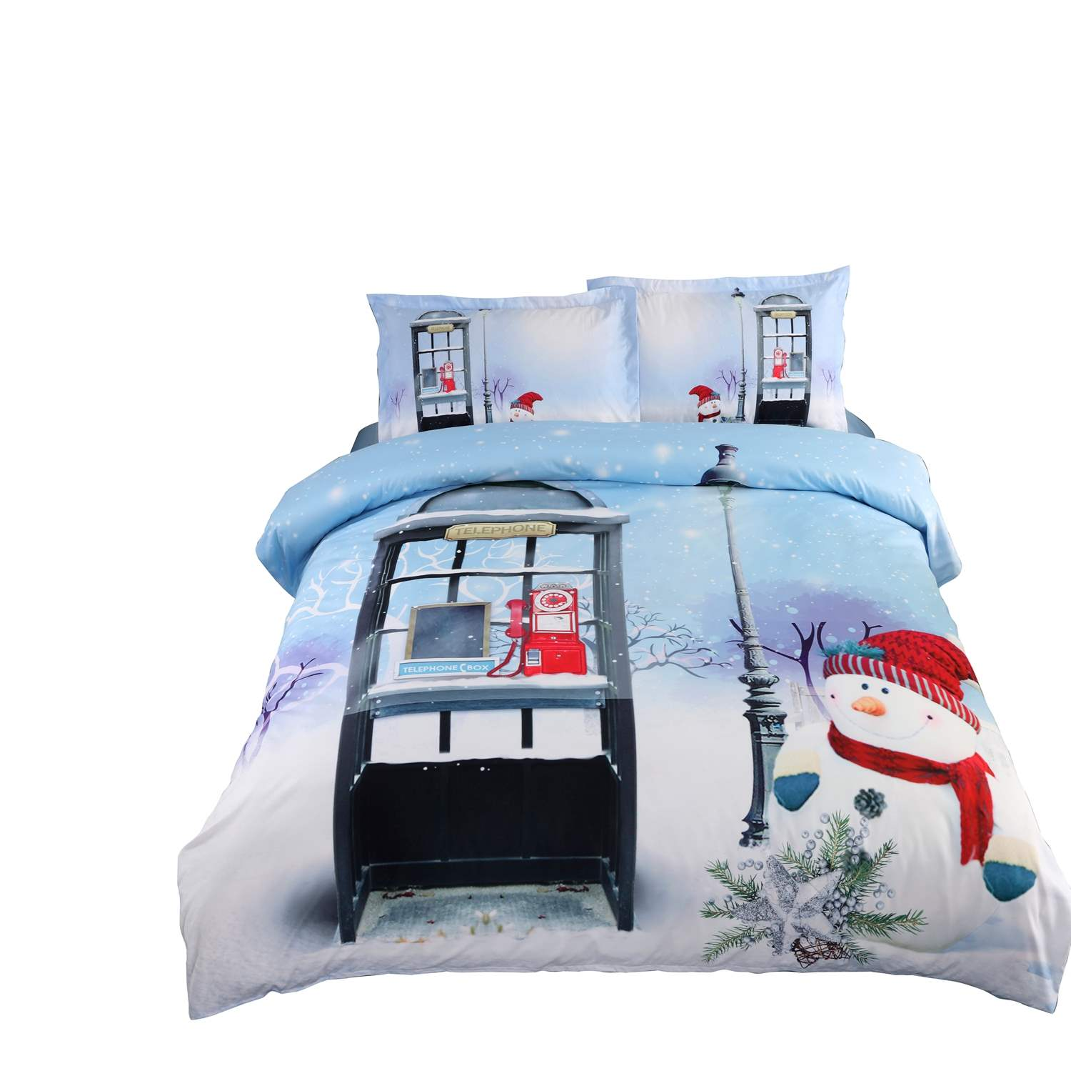 3D Christmas Snowman and Telephone Booth Printed 4-Piece Bedding Sets/Duvet Covers
