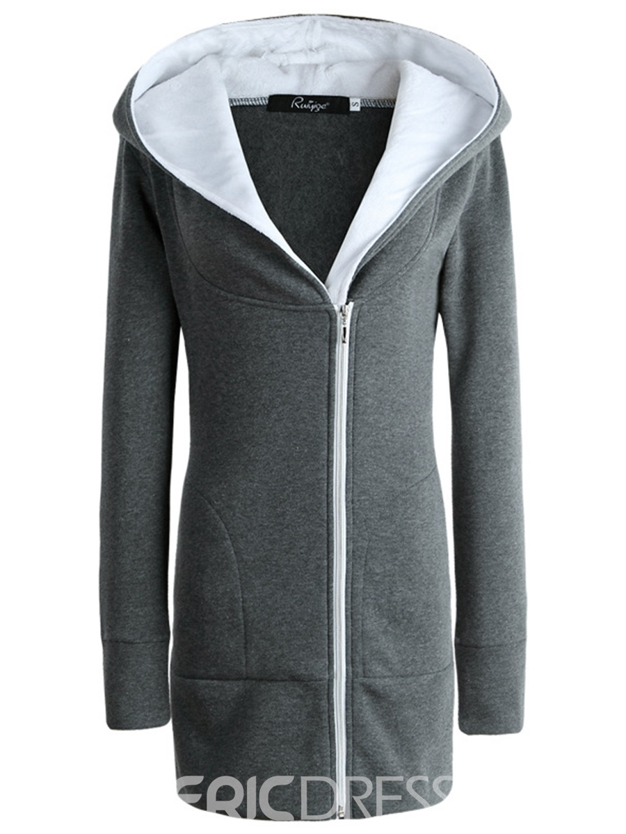 Ericdress Zipper Cardigan Mid-Length Cool Hoodie