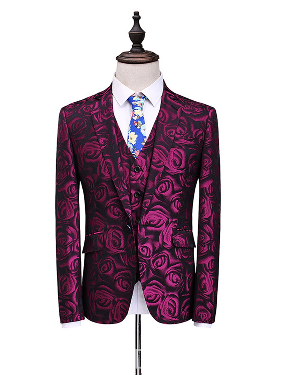 Ericdress Floral Print One Button Vogue Slim Men's Casual Suit