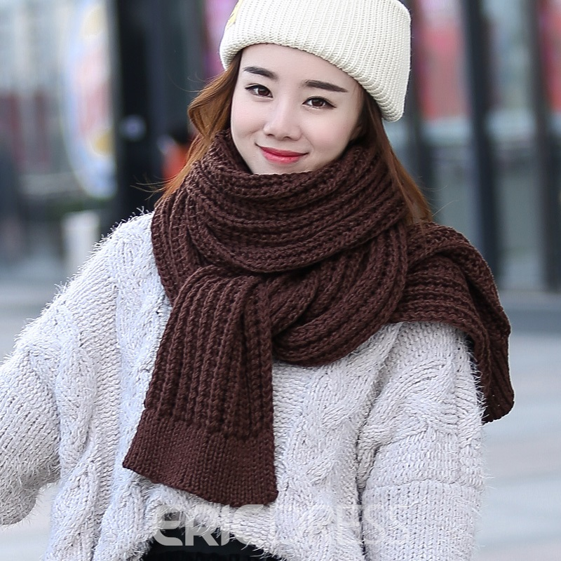 Ericdress Pure Color Warm Thicken Warm Knitting Scarf for Women