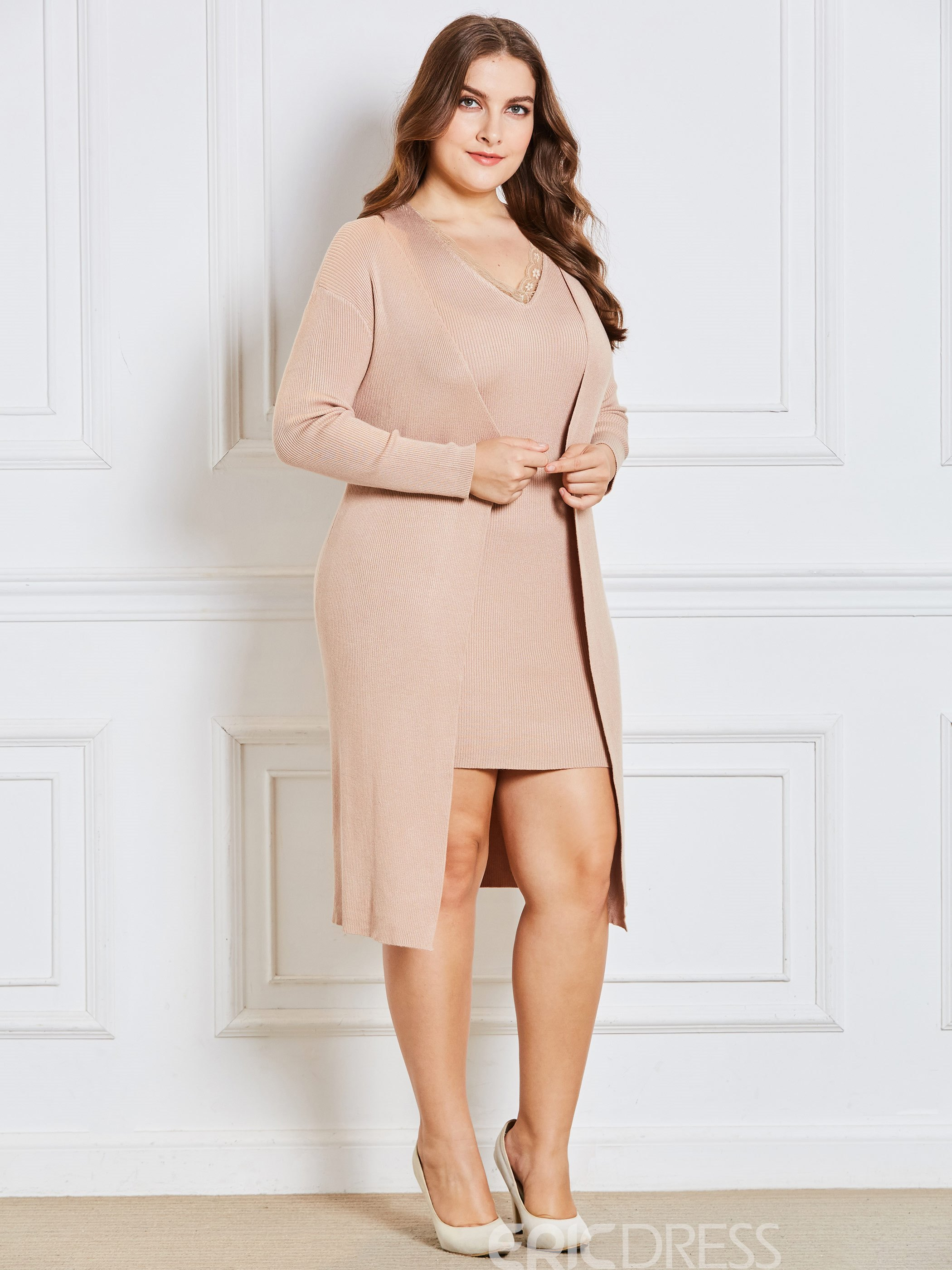 Ericdress Plus Size Patchwork Bodycon Sweater And Dress Two Piece Sets