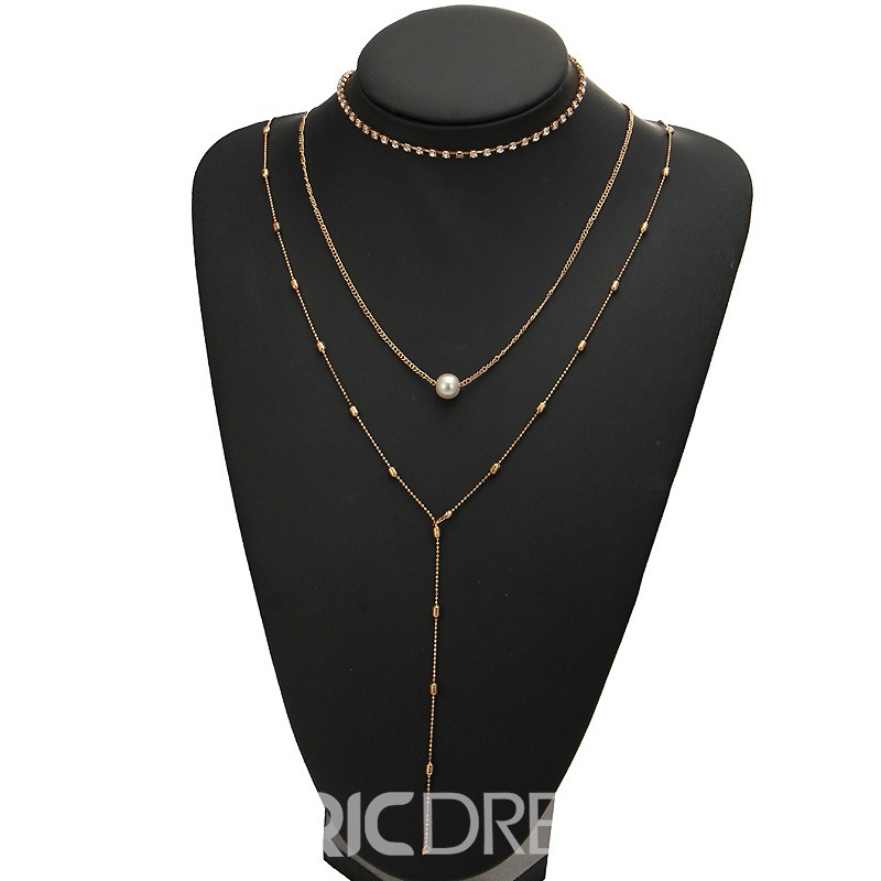 Ericdress Hot Three Layer Imitation Pearl Pendant Necklace