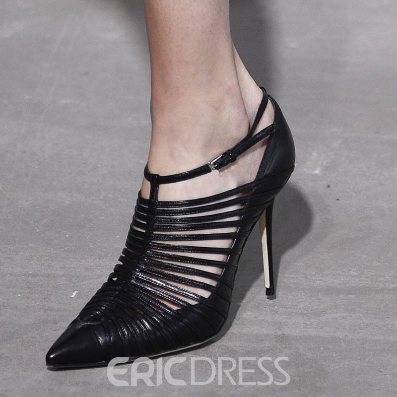 Ericdress Black Hollow Buckle Stiletto Heel Pumps