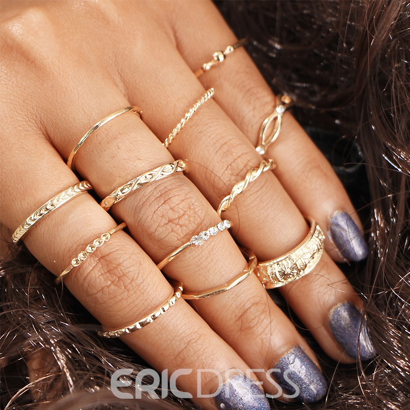 Ericdress Vintage 12-Piece Carved Ring Set for Women