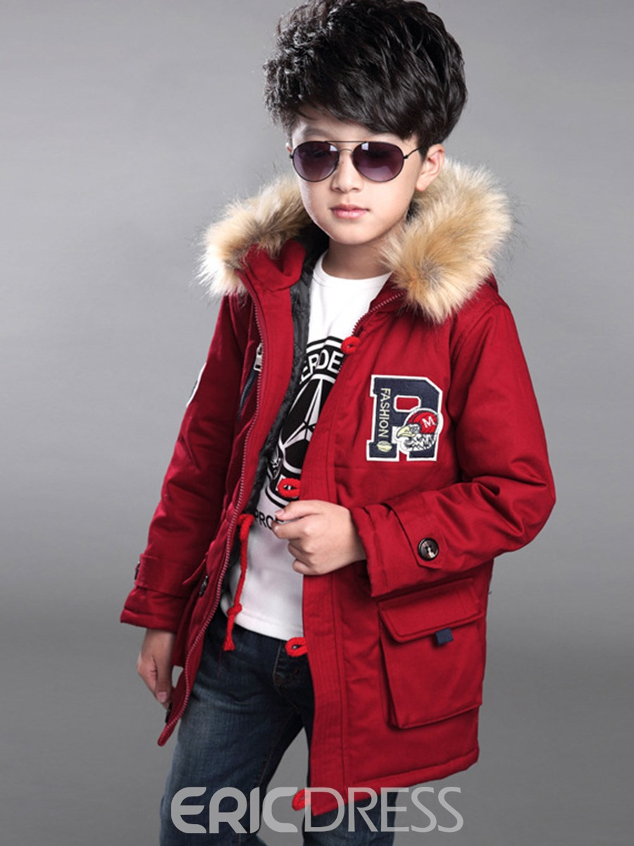 Ericdress Letter Print Zipper Fur Thick Boy's Winter Down Jacket