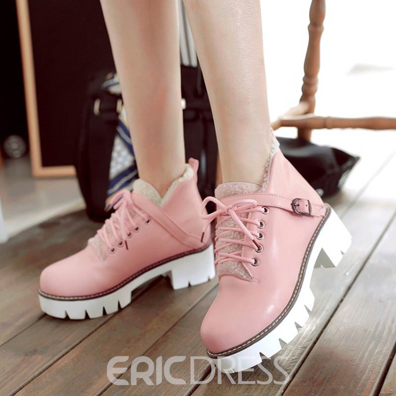 Ericdress Buckle Lace-Up Platform Plain Ankle Boots