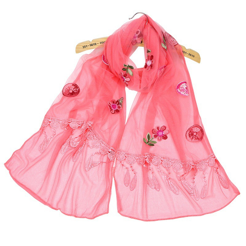 Ericdress New Style Embroidery Chiffon Tassel Scarf for Women