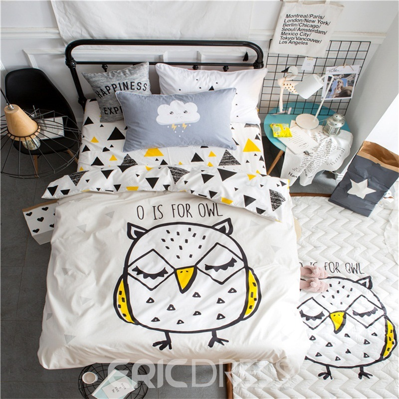 Vivilinen Chick Printed Cotton 3-Piece White Duvet Covers/Bedding Sets