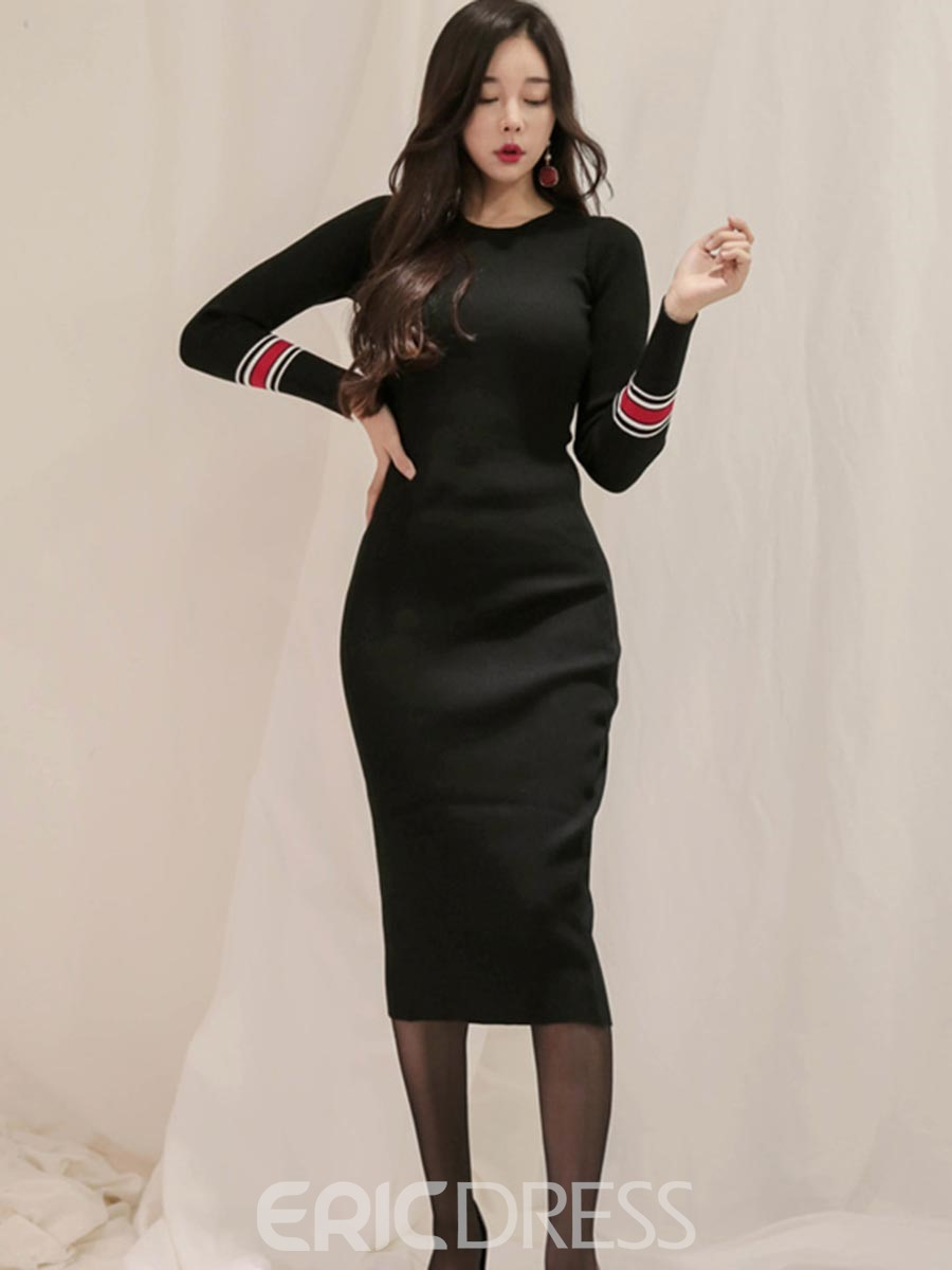 Ericdress Round Neck Long Sleeves Plain Sweater Dress