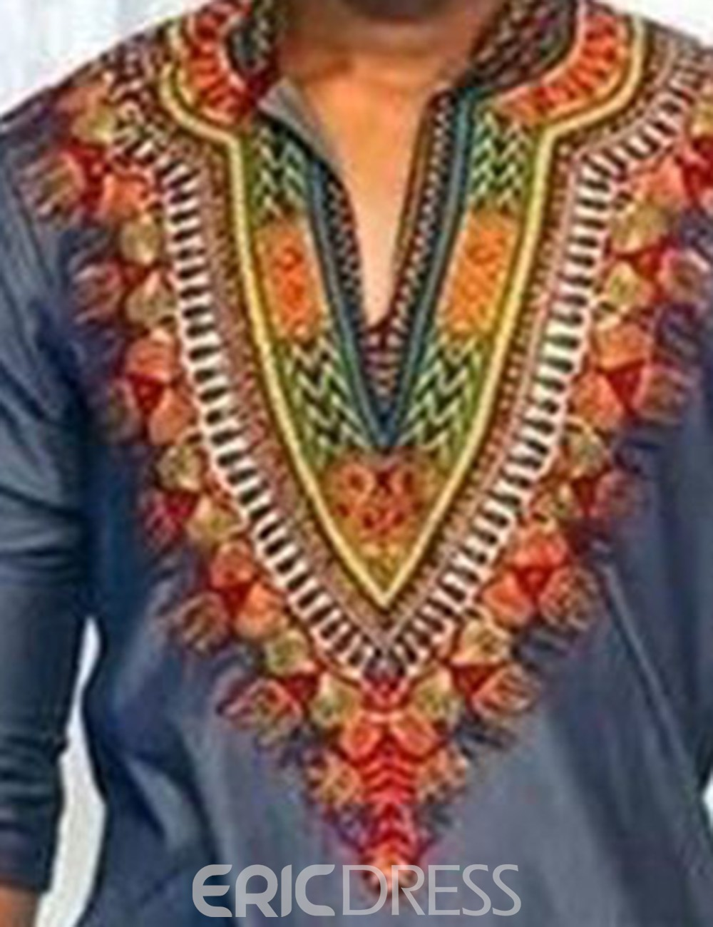 Ericdress African Fashion Dashiki Print Color Block V-Neck Slim Men's T-Shirt