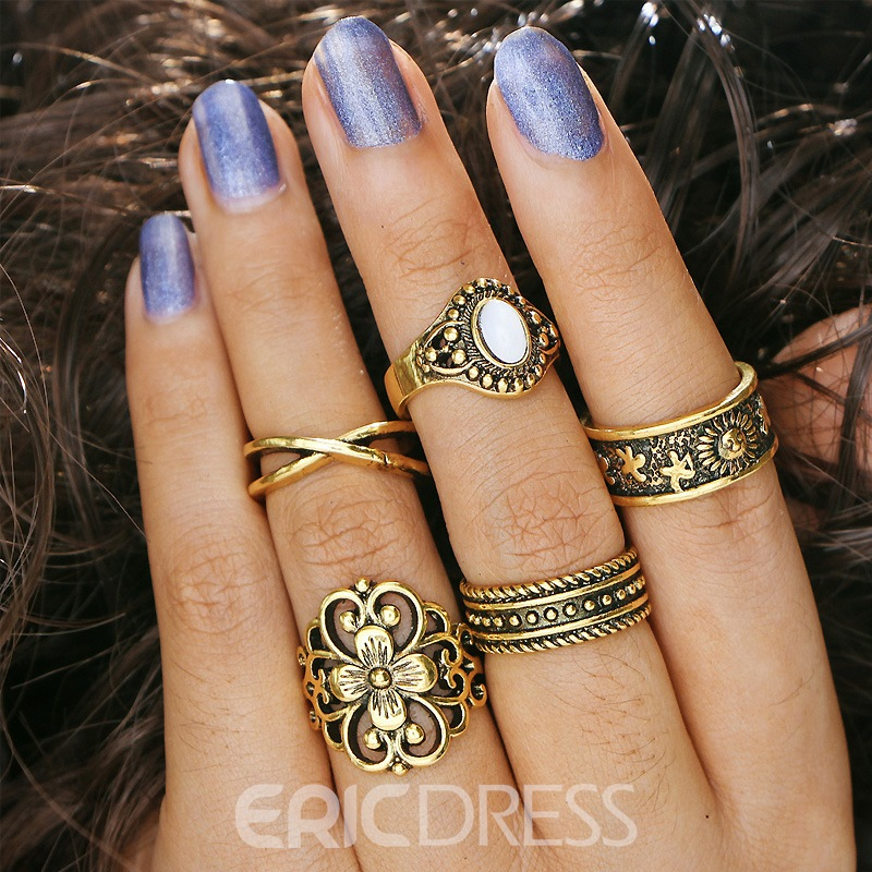 Ericdress Retro Style Carved 5-Piece Ring Set for Women