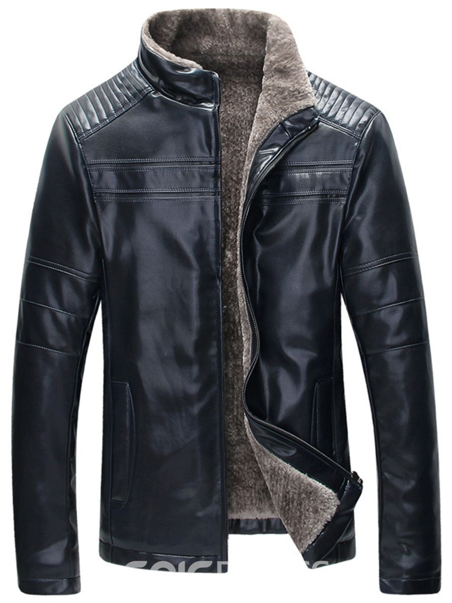 Ericdress Flocking Stand Collar PU Leather Vogue Slim Men's Jacket