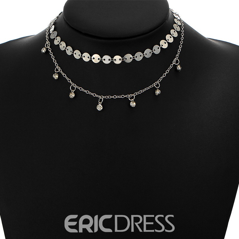Ericdress Exquisite Three Layer Diamante Choker Necklace