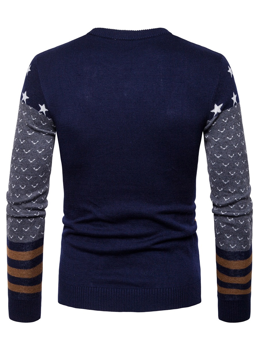 Ericdress Color Block Print Round Neck Slim Men's Pullover Sweater