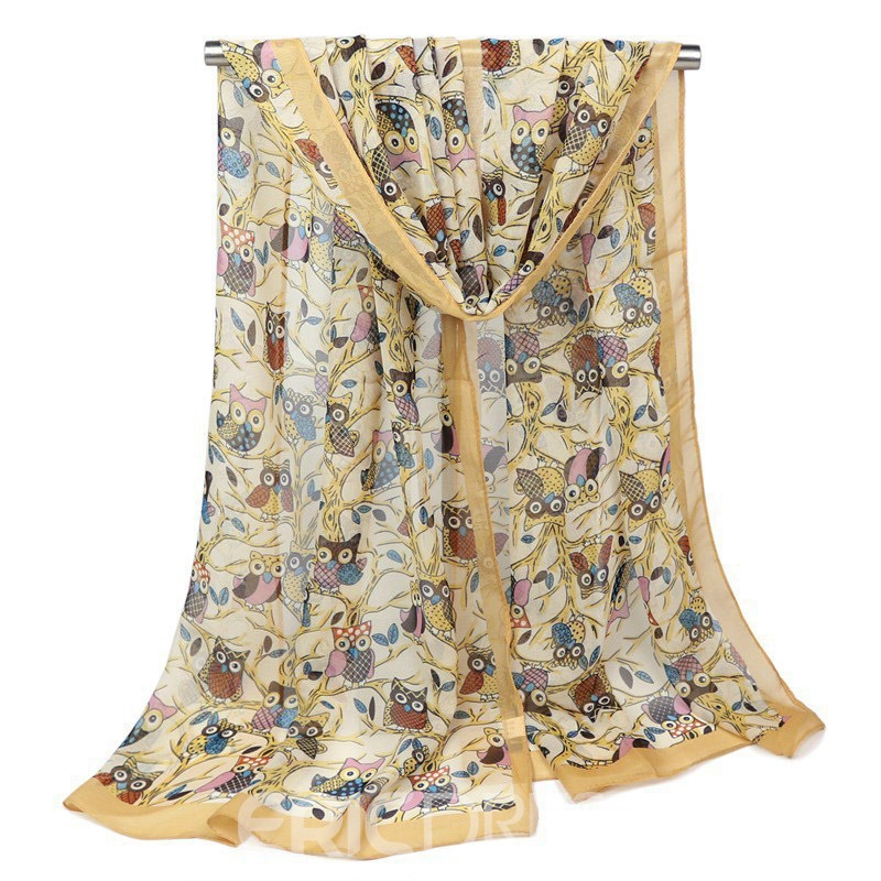 Ericdress Creative Owl Printed Women's Scarf