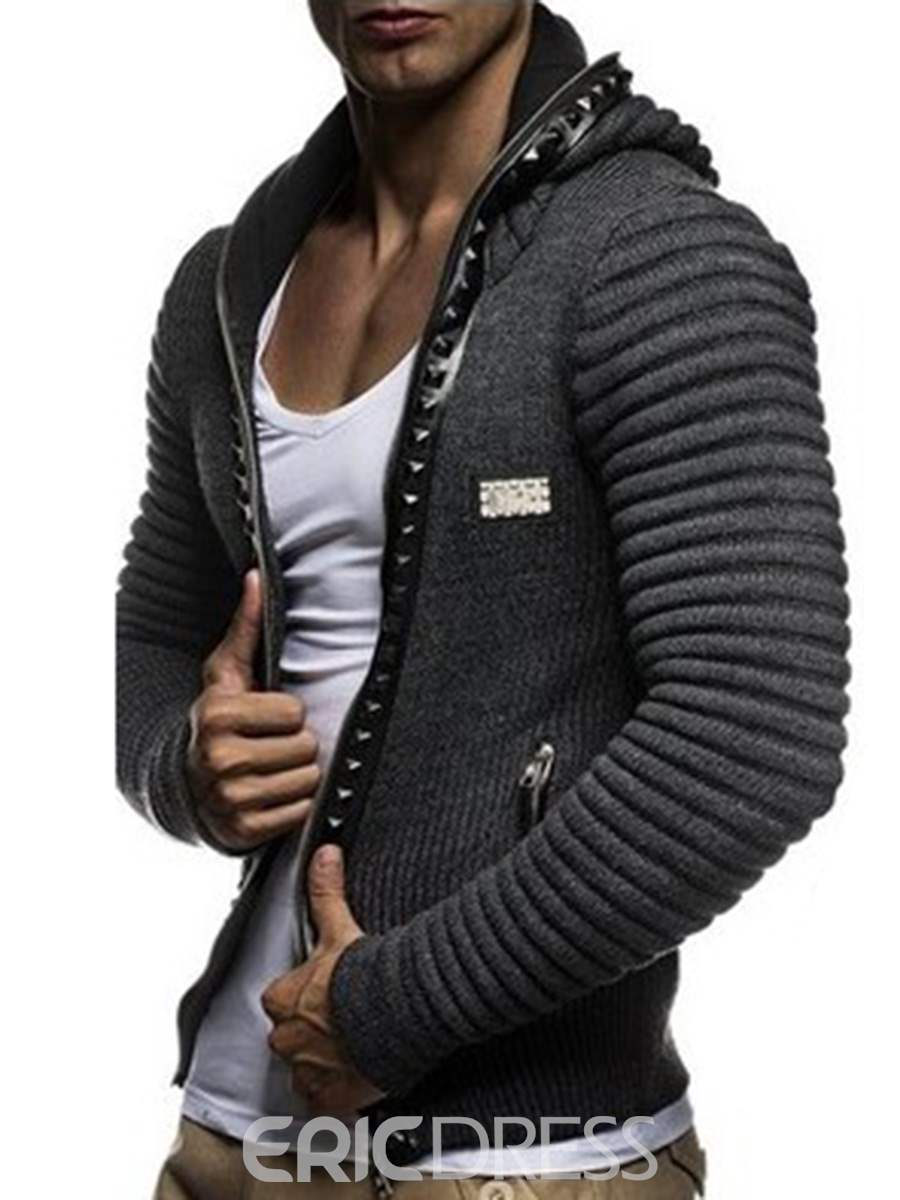 Ericdress Plain Hooded Zip Casual Slim Men's Cardigan Knitwear