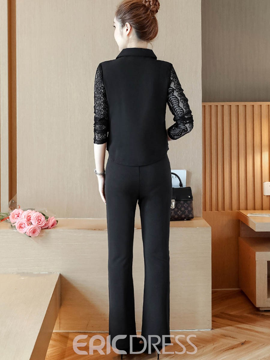 Ericdress Lace Lapel Blazer and Bell Bottom Pants Women's Suit