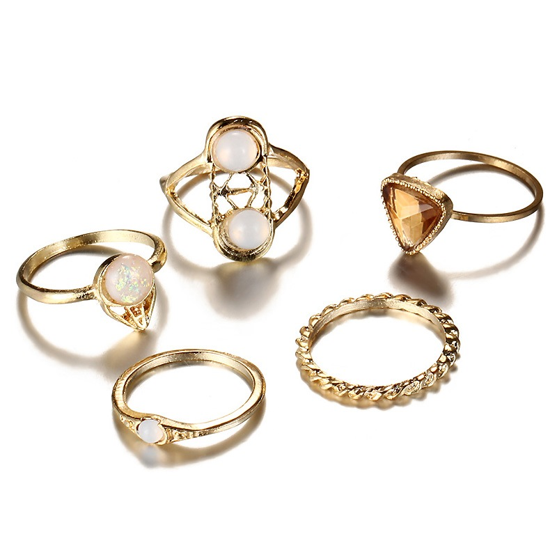 Ericdress Champagne Diamante 5-Piece Ring for Women