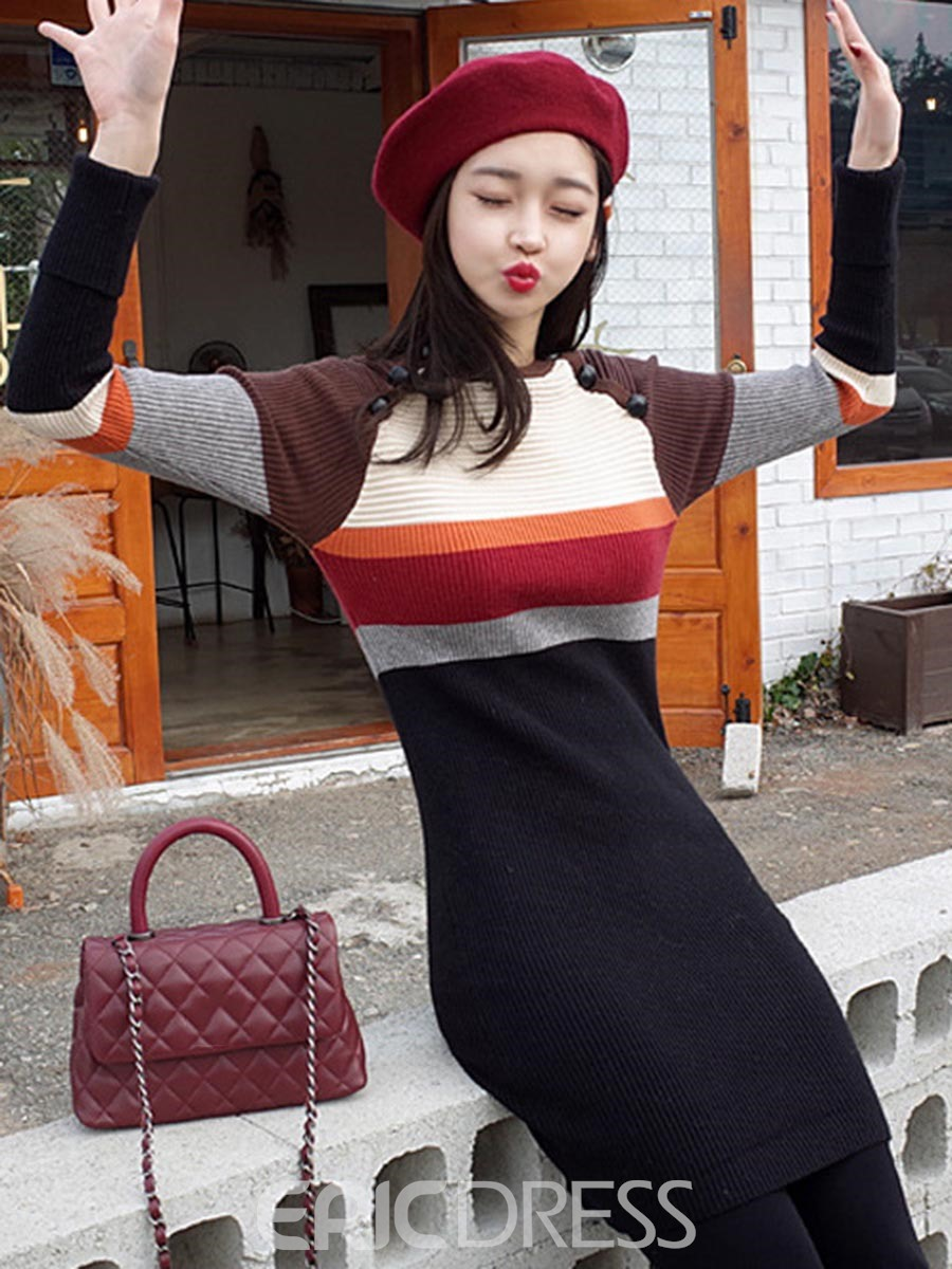 Ericdress Stripe Color Block Raglan Sleeves Sweater Dress