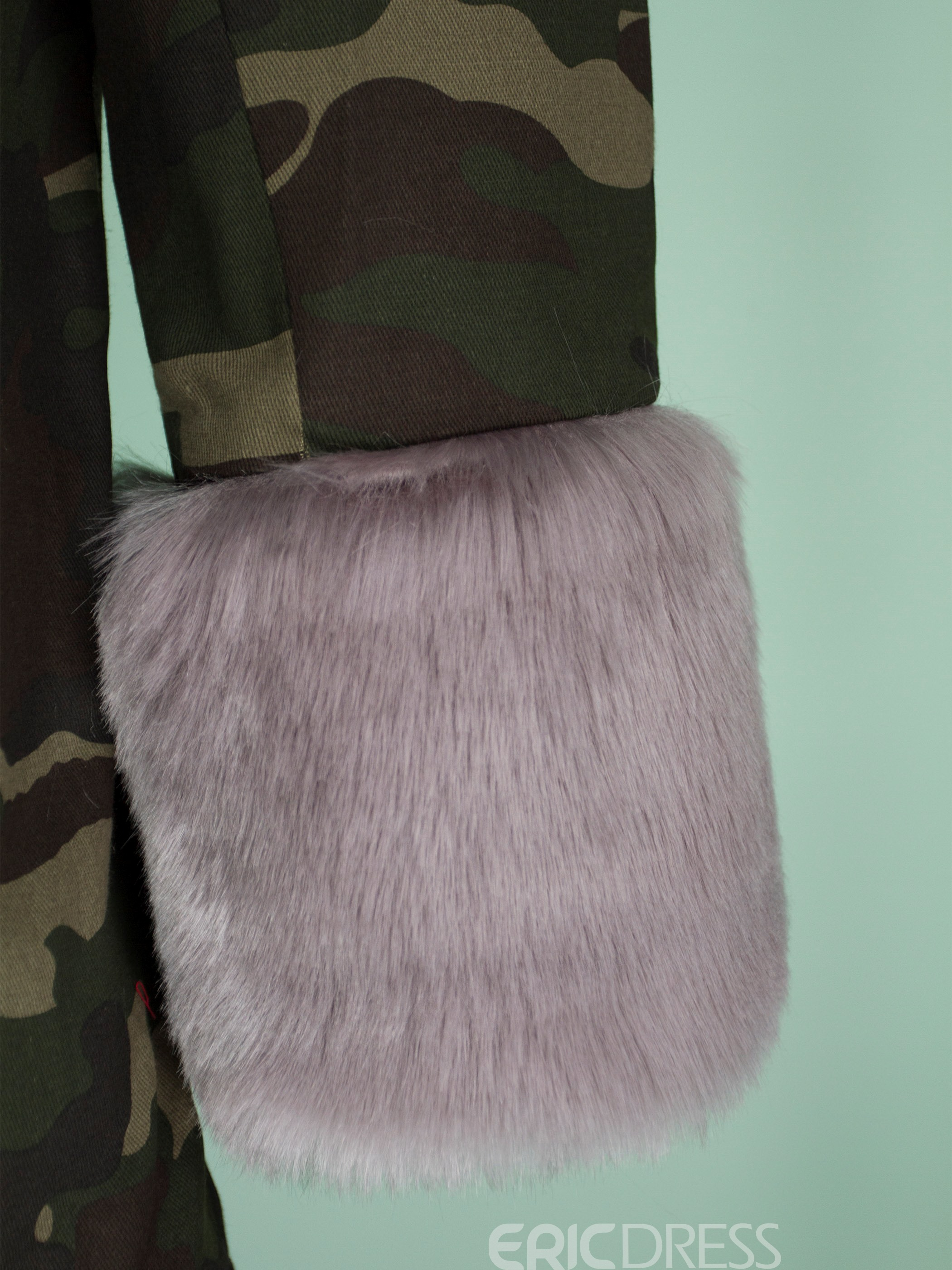 Ericdress Fur Camouflage Mid-Length Hooded Coat