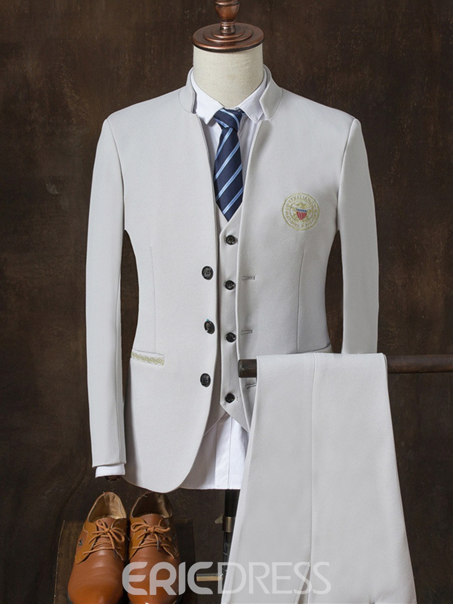 Ericdress Plain Embroidery Notched Lapel Men's Casual Suit