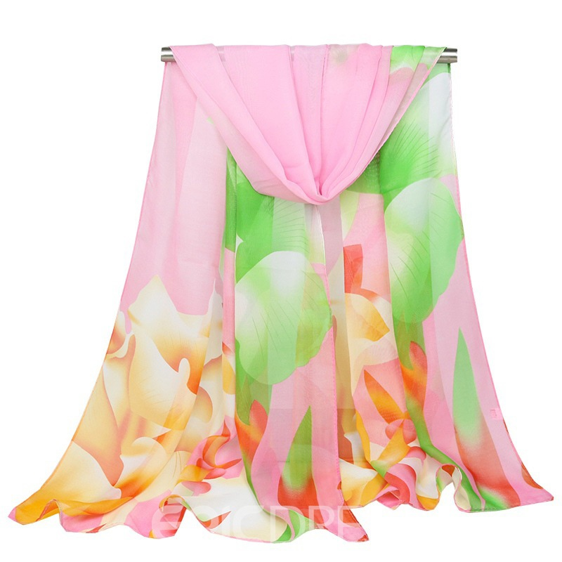 Ericdress Soft&Cozy Chiffon Floral All Match Scarf for Women