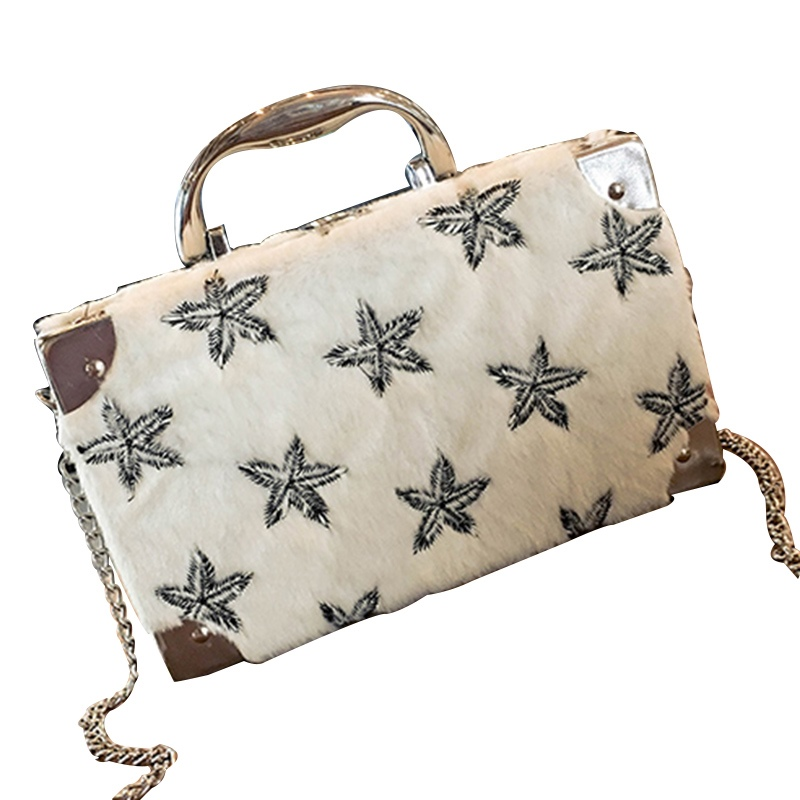 Ericdress Box Shape Star Embroidery Design Crossbody Bag