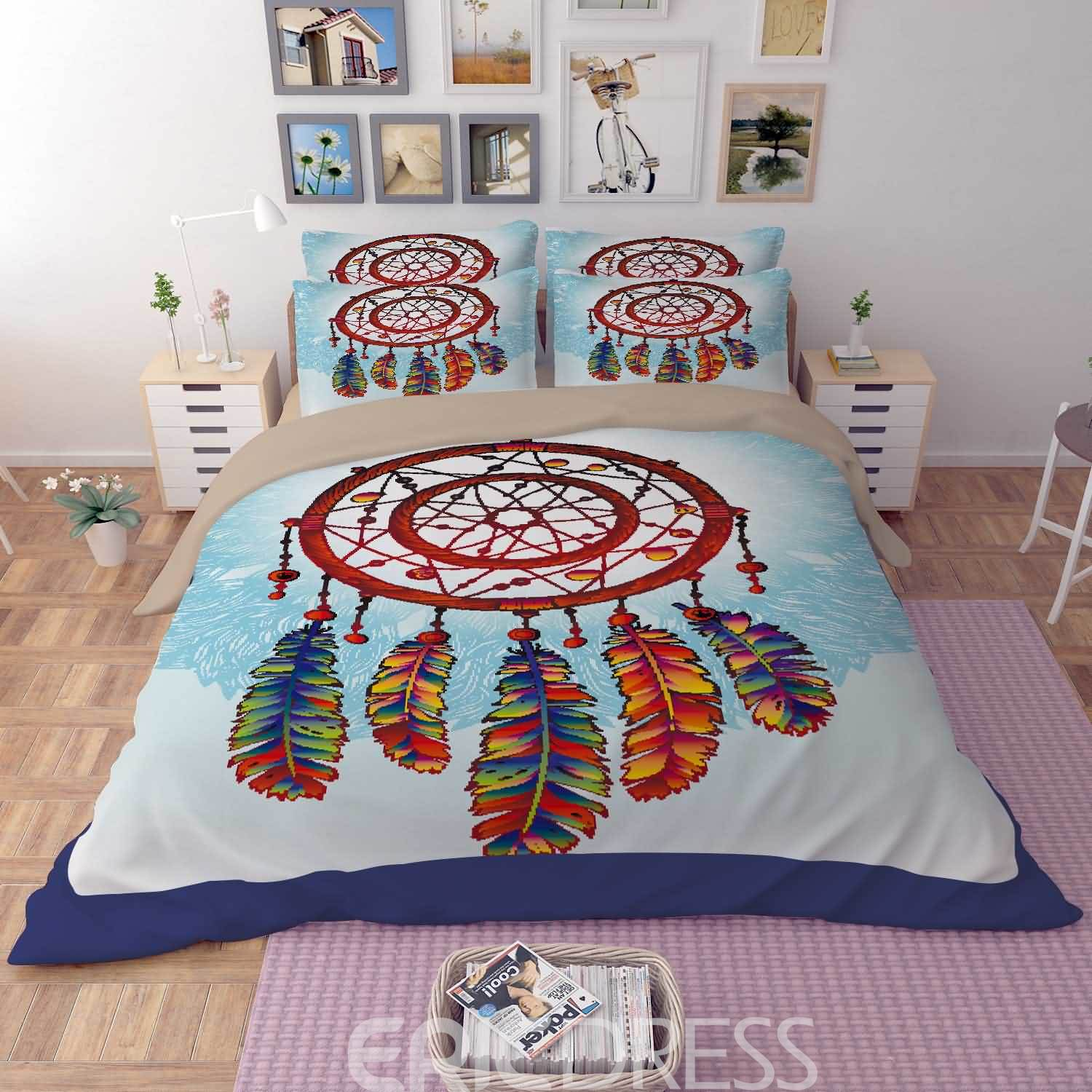 Vivilinen 3D Colorful Dream Catcher Printed Polyester 4-Piece Bedding Sets/Duvet Covers