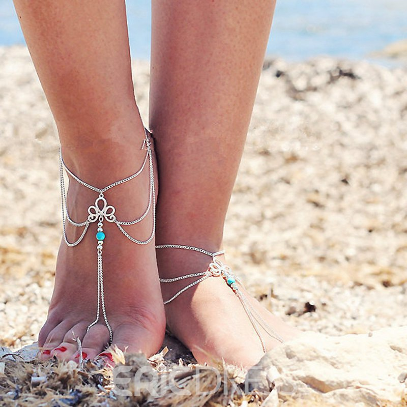 Ericdress Vintage Hollow Out Tassel Anklet for Women