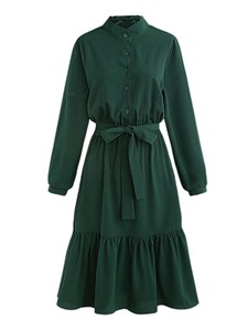 Ericdress Lace-Up Long Sleeve Trumpet A Line Dress