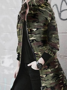 Ericdress Zipper Mid-Length Camouflage Hooded Trench Coat