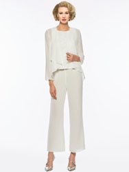 Ericdress 3 Pieces Chiffon Mother of The Bride Pantsuits with Jacket