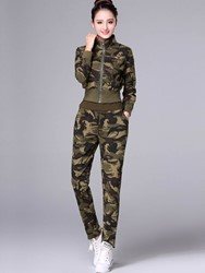 Ericdress Camouflage Jacket with Vest and Pants Womens Suit