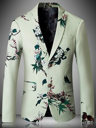 Ericdress Floral Print Notched Lapel Two Button Vogue Mens Blazer