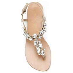 Eridress Thong Rhinestone Womens Flat Sandals