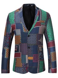 Ericdress Patchwork Notched Lapel Slim Fit Mens Blazer