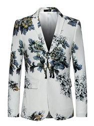 Ericdress Floral Notched Lapel Two Button Vogue White Slim Mens Blazer