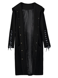 Image of Ericdress Single-Breasted Lace-Up Long Hooded Womens Overcoat
