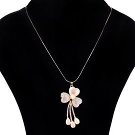 Ericdress All Match Flower Pendant Diamante Women's Sweater Necklace