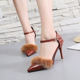 Ericdress Fur Decorated Pointed Toe Stiletto Heel Pumps