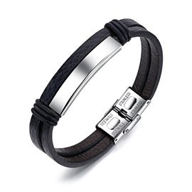 Ericdress Hot Stainless Steel Leather Bracelet for Men