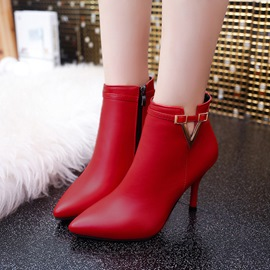 Ericdress Pointed Toe Buckle Plain High Heel Boots