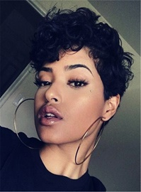 Ericdress Boy Cut Pixie Curly Short Synthetic Hair Capless African American Women Wigs