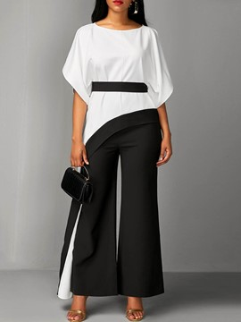 Ericdress Drop-Shoulder Sleeve Wide Leg Color Block Women's Suit