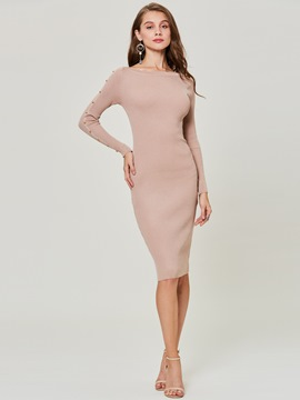 Ericdress Beading Decorative Mid-Calf Sweater Dress