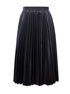 Ericdress PU Pleated Mid-Calf Women's Skirt