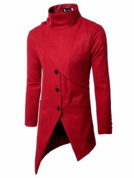 Ericdress Fashion High Neck Irregular Button Slim Men's Woolen Coat