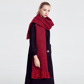 Ericdress Soild Color Tassel Warm Scarf for Women